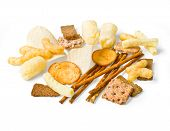 picture of irresistible  - food snack collection isolated over white background - JPG