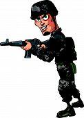 Cartoon soldier with a shotgun an Assault rifle