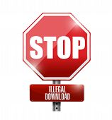 Stop Illegal Downloads Road Sign Illustration