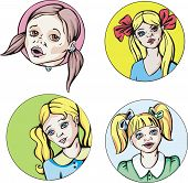 Round Portraits Of Young Cute Girls With Pigtails