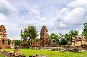 The Wat Mahathat, A Ruined Temple In Ayuthaya, Thailand.