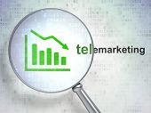 Marketing concept: Decline Graph and Telemarketing with optical