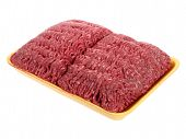 pic of ground-beef  - A large package of raw  ground beef in a yellow styrofoam tray shot on white - JPG