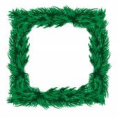 Frame Of Christmas Tree Branches On A White Background.vector