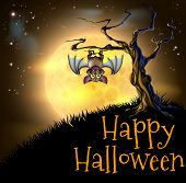 stock photo of vampire bat  - A spooky scary orange Halloween background scene with vampire bat hanging from a spooky tree with a full moon in the background - JPG