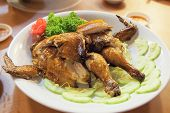 foto of chinese parsley  - Chinese Whole Roast Chicken Garnished with Parsley and Cucumbers Closeup