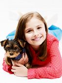 image of yorkshire terrier  - Young girl with  puppy - JPG