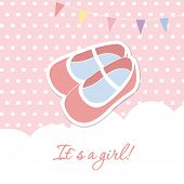 stock photo of maryjane  - Baby girl shower card with cute pink shoes and flags - JPG