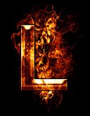 l, illustration of  letter with chrome effects and red fire on black background