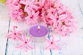Pink hyacinth with candle on wooden background