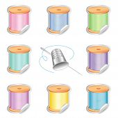 Needle And Threads Stickers, Thimble, Pastel Colors