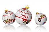 Christmas articles wishes on newspaper balls isolated on white background
