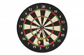 Generic dartboard with three darts on white background