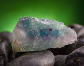 Fluorite also called fluorspar natural crystal on amethyst rock