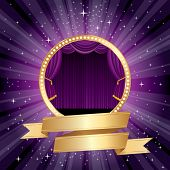 purple rounded stage with blank golden banner