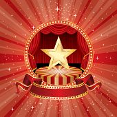 vector circle circus stage with golden star and blank banner