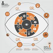 Puzzle in the form of an abstract human eye surrounded infographic business. Business concept with i
