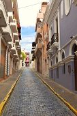 colorful street scene of row houses in san juan, puerto rico