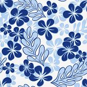 Vector Blue Tropical Flowers Pattern