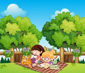 Illustration of the kids studying outdoor with a cat
