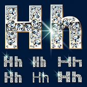 Ultimate vector alphabet of diamonds and platinum ingot. Six options. Letter h