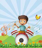 Illustration of a little drummer
