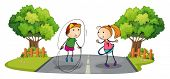 Illustration of the children playing in the middle of the street on a white background