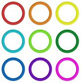 Illustration of the nine colorful rings on a white background
