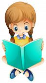 Illustration of a young girl reading a book seriously on a white background