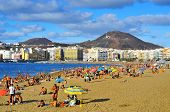 LAS PALMAS, SPAIN - OCTOBER 13: Bathers in Las Canteras Beach on October 13, 2013 in Las Palmas de G