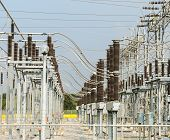 stock photo of substation  - Part Of The Electric Distribution Substation in nature - JPG