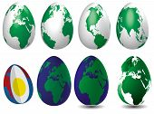 picture of land-mass  - Eight eggs as globes filled in eliptic cut egg with ocean and land masses - JPG