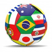 3D render of football with drop shadow and flags representing all countries participating in football world cup in Brazil in 2014