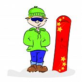 A cartoon snowboarder
