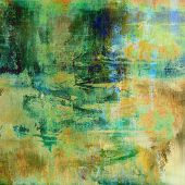 art abstract acrylic background in green, yellow, beige and blue colors