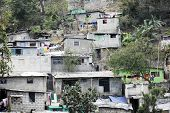 Housing stacked up a hillside in Port-Au-Prince, Haiti.