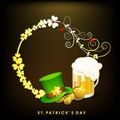 Happy St. Patrick's Day celebrations concept with leprechauns hat, beer mug on floral decorated brow