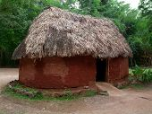 stock photo of mud-hut  - a historic mayan hut in Yucatan Mexico - JPG