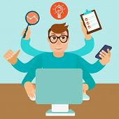 stock photo of multitasking  - Vector self employment concept in flat style  - JPG