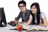 stock photo of indian apple  - Asian students studying together isolated on white background