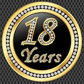 18 Years Anniversary Golden Happy Birthday Icon With Diamonds, Vector Illustration