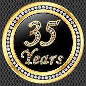35 Years Anniversary Golden Happy Birthday Icon With Diamonds, Vector Illustration