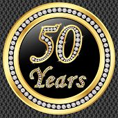 stock photo of diamond  - 50 years anniversary golden happy birthday icon with diamonds vector illustration - JPG