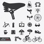 Bike tools and equipment part and accessories set vector icon