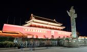 BEIJING, CHINA - APR 1: Tiananmen exterior with decorations at night on April 1, 2013 in Beijing, Ch