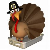 Toon Turkey Roaster In Pilgrim Hat