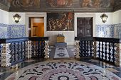 Lisbon, Portugal - September 15, 2013: Baroque Entrance Hall (Sala da Portaria) with a large lectern