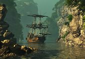 picture of sail ship  - a sailing ship of the 16th Century anchored between high rocks in shallow waters 3d computer graphics - JPG