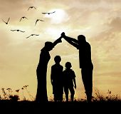 stock photo of muslim kids  - Family parents and children - JPG