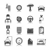 stock photo of auto garage  - Car auto service icons set of mechanic maintenance engine repair and garage isolated vector illustration - JPG